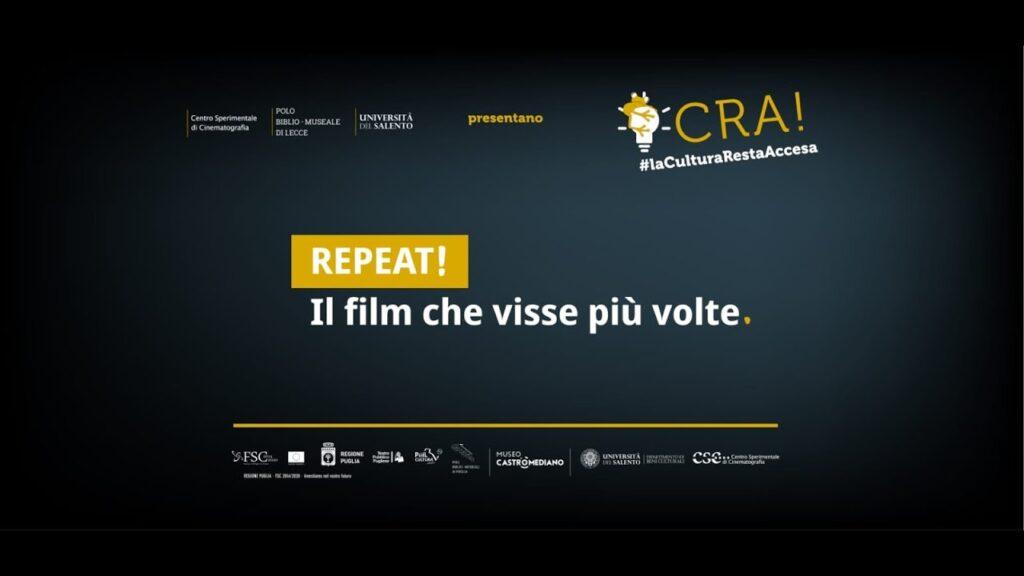 """Locandina della rassegna """"REPEAT! Il film che visse due volte"""", CSC Puglia 2020"""""""